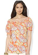 Lauren Ralph Lauren Short-Sleeved Smock Top