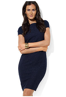 Lauren Ralph Lauren Cap-Sleeved Lace-Overlay Dress