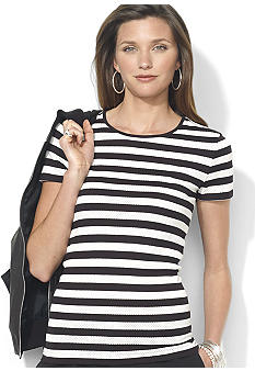 Lauren Ralph Lauren Perforated-Stripe Crewneck