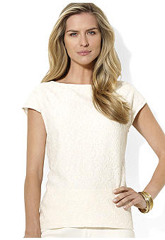 Lauren Ralph Lauren Cap-Sleeved Lace-Front Top