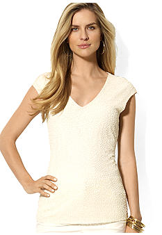 Lauren Ralph Lauren Beaded Sleeveless V-Neck Top