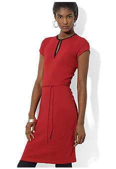 Lauren Ralph Lauren Short-Sleeved Belted Cotton Split-Neck Dress