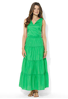 Lauren Ralph Lauren Tiered V-Neck Cotton Maxi Dress