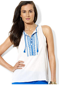 Lauren Ralph Lauren Embroidered Cotton Top