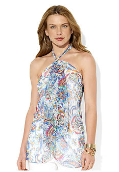 Lauren Ralph Lauren Ruffled Silk Halter Top