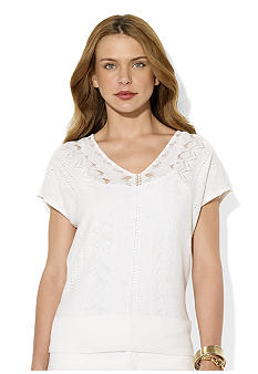 Lauren Ralph Lauren Pointelle-Knit V-Neck Top