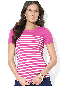 Lauren Ralph Lauren Striped Cotton Crewneck Tee