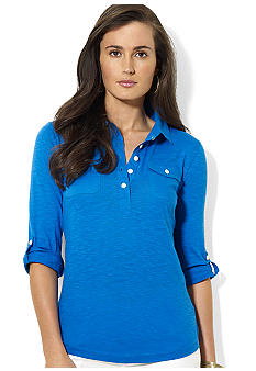 Lauren Ralph Lauren Three-Quarter-Sleeved Collared Knit Top
