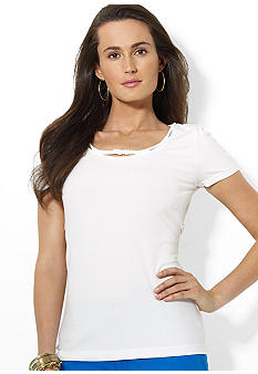 Lauren Ralph Lauren Cotton Scoopneck Tee