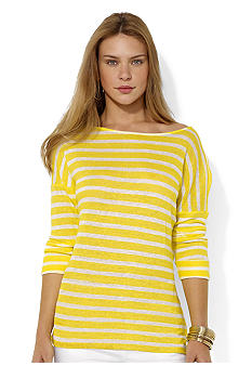 Lauren Ralph Lauren Striped Linen Boatneck Top