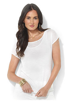 Lauren Ralph Lauren Short-Sleeved Tonal-Striped Top