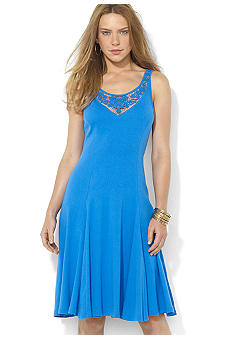 Lauren Ralph Lauren Lace Cotton Scoopneck Dress
