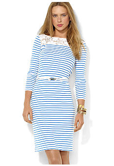 Lauren Ralph Lauren Striped Lace Cotton Dress