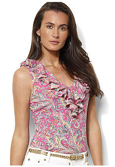 Lauren Ralph Lauren Sleeveless Ruffled Paisley Top