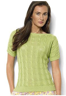 Lauren Ralph Lauren Short-Sleeved Cotton-Linen Cable-Knit Boatneck Sweater