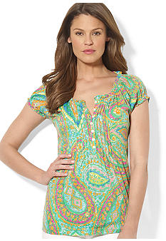 Lauren Ralph Lauren Three-Quarter Pintucked Cotton-Modal Paisley Peasant Top