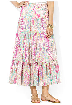 Lauren Ralph Lauren Four-Tiered Paisley Skirt