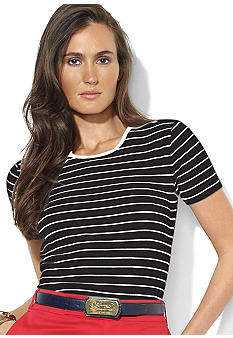 Lauren Ralph Lauren Short-Sleeved Striped Cotton Crewneck Tee