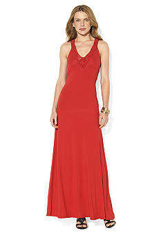 Lauren Ralph Lauren Twisted-Knot V-Neck Maxi Dress