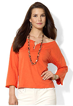 Lauren Ralph Lauren Cotton Scoopneck Top