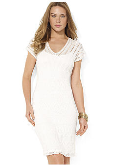 Lauren Ralph Lauren Crochet Cap Sleeve Dress
