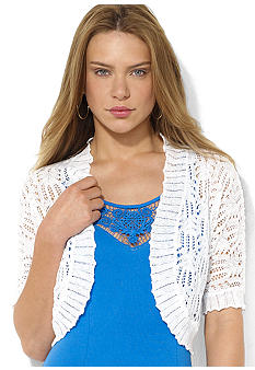 Lauren Ralph Lauren Pointelle-Knit Linen Shrug