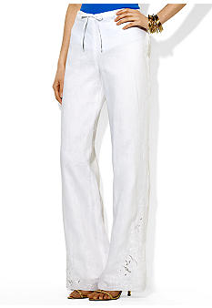 Lauren Ralph Lauren Embroidered Linen Drawstring Pant