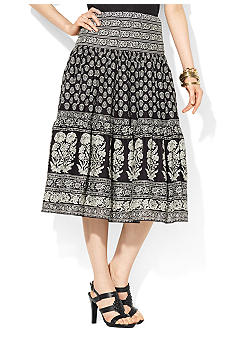 Lauren Ralph Lauren Patchwork Cotton Tiered Skirt