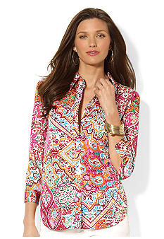 Lauren Ralph Lauren Three-Quarter-Sleeved Printed Button Down Shirt