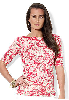 Lauren Ralph Lauren Cotton Paisley Boatneck Top
