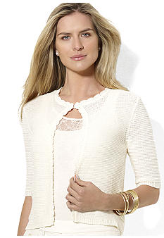 Lauren Ralph Lauren Crocheted Cropped Cardigan