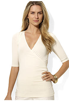 Lauren Ralph Lauren Faux-Wrap Elbow-Sleeved Top