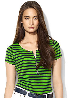 Lauren Ralph Lauren Short-Sleeved Striped Cotton Half-Zip Scoopneck Shirt
