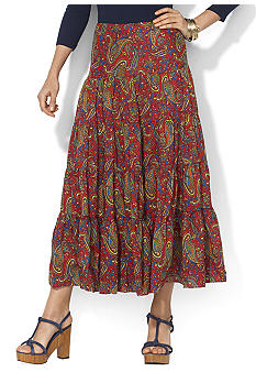Lauren Ralph Lauren Tiered Paisley Cotton Skirt