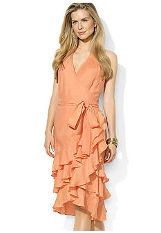 Lauren Ralph Lauren Sleeveless Tiered-Ruffle Linen Wrap Dress
