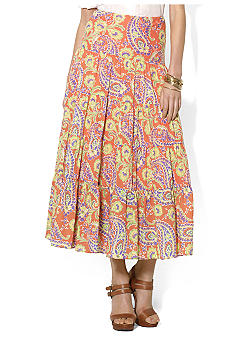 Lauren Ralph Lauren Paisley Cotton Voile Tiered Skirt