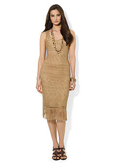 Lauren Ralph Lauren Pointelle-Knit Fringed Dress