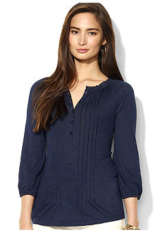 Lauren Ralph Lauren Three-Quarter-Sleeved Pintucked Cotton-Modal Peasant Blouse