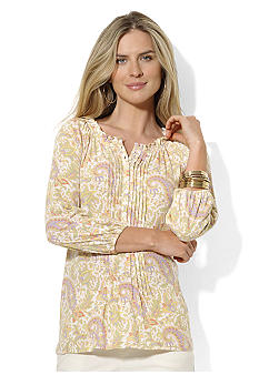 Lauren Ralph Lauren Three-Quarter-Pintucked Cotton-Modal Peasant Blouse