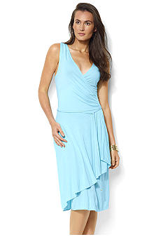 Lauren Ralph Lauren Sleeveless Jersey Faux-Wrap Surplice Dress