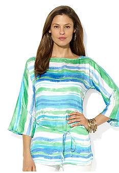 Lauren Ralph Lauren Striped Georgette Dolman Sleeve Tunic