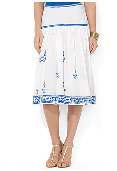 Lauren Ralph Lauren Embroidered Cotton Skirt