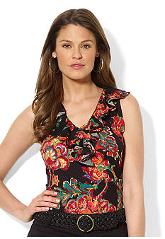 Lauren Ralph Lauren Sleeveless Floral Tissue Cotton Ruffle V-Neck Top