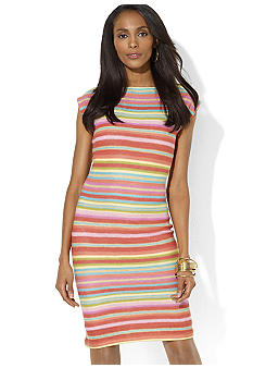 Striped Linen Boatneck Dress