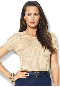 Lauren Ralph Lauren Zippered Cotton Crewneck