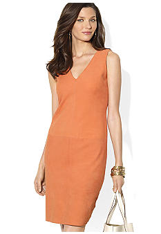 Lauren Ralph Lauren Suede-Front V-Neck Dress