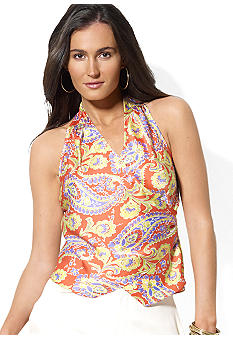 Lauren Ralph Lauren Sleeveless Floral Wrap Top