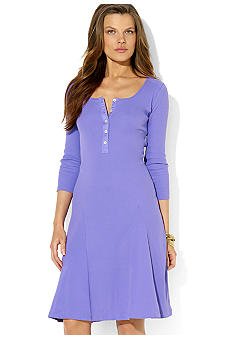 Lauren Ralph Lauren Roll-Sleeve Cotton Henley Dress