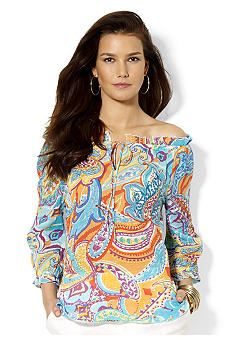 Lauren Ralph Lauren Ruffled Paisley Silk Top