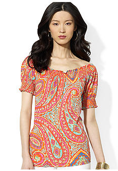Lauren Ralph Lauren Smocked Paisley Cotton Top